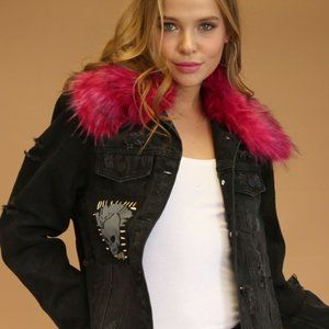 NEW WOMEN'S DISTRESSED JEAN JACKET FUR